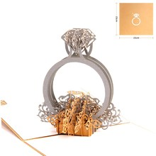 Customise 3D Pop Up Flower Basket Ring Wedding Invitations Romantic Greeting Cards For Wedding Party