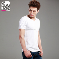 Summer good quality plain 95%combed cotton 5%Lycra white t-shirt