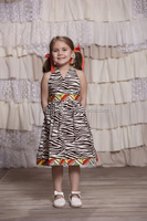 Wholesale kids clothing zebra long halter dress gilrs dresses