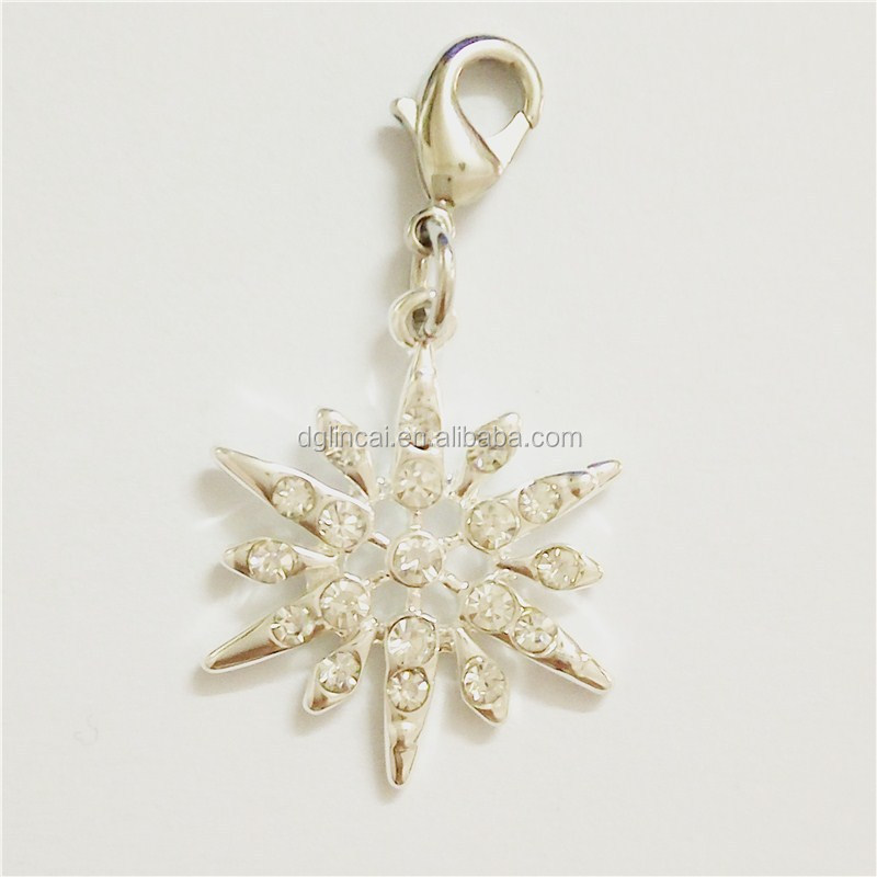 Zinc alloy metal snowflake shape dangle charms