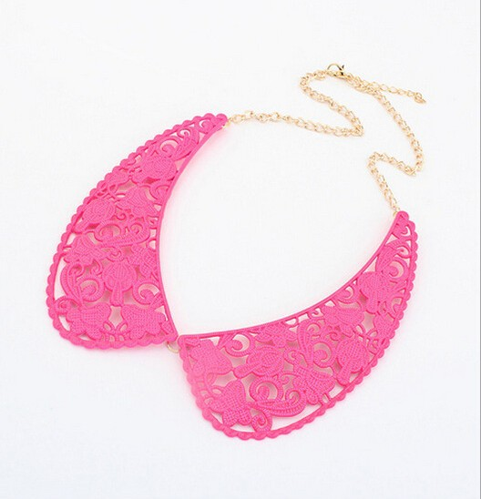 Hot Selling fluorescent color fake choker collar necklace for women