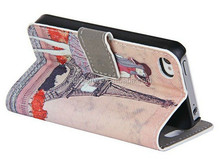 Retro UK Flag Eiffel Tower Leather Wallet Stand Flip Case for iPhone 6