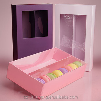 wholesale customized design pvc window macaron packaging box