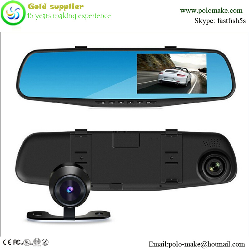 "Manufacturer direct 4.3"" LCD display car cameras Full HD 1080P ultra-thin Rearview mirror tachograph"