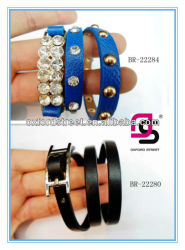 2013 latest charming long blue leather Jewelry PU Bracelet with diamond and rivet wholesale