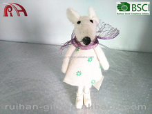 handmade wool felt christmas gift female mouse with scarf