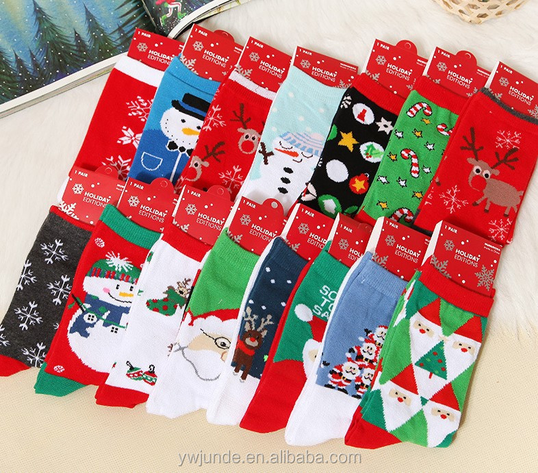 2017 custom kid knitted cotton childern christmas socks