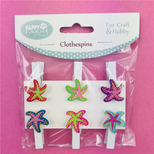 DIY Hobby Craft Wooden Clothes Peg Starfish Clothespins for Decoration