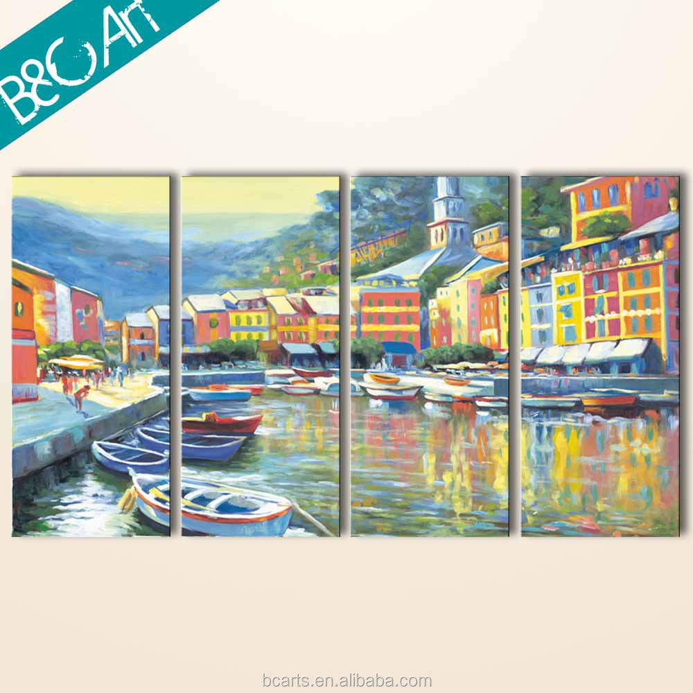 Decorative boats and houses painting seaside village wall art realist scenery oil painting