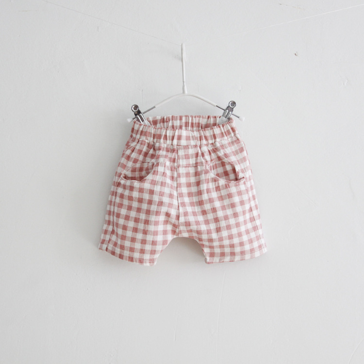 C82072A Boys' Cotton Plaid Shorts Stock Cotton Plaid Shorts