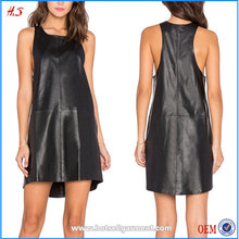 Professional Supplier Best Selling in Market Fashion Black Leather Micro Mini Dress