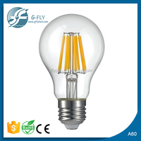 clearly glass factory supply A60 led bulb filament 6w