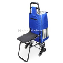 Trolley Stair Climber, Black Shopping Cart Grocery Bag