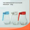 400ml clear bulb shape glass oil&vinegar bottle with plastic or metal lid with handle