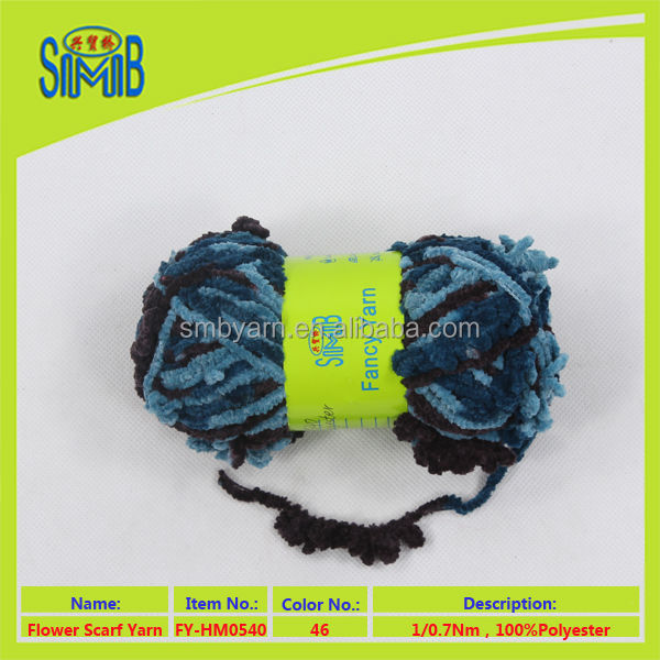 knitting yarn made in China factory huicai wholesale oeko tex hand knit 100 polyester scarf fusion yarn