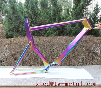 XACD made ti TT bicycle frame with rainbow color Titanium Time trial bike frame Custom titanium bike frame with water drop tube