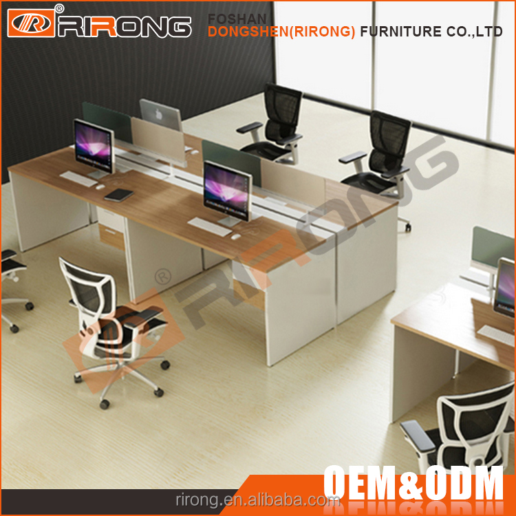 Modern white wooden open 4 person modular cubicle computer office workstation partition