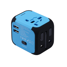 2017 Hot Selling Travel Adapter Electric Plugs Sockets Converter US/AU/UK/EU with Dual USB Charging 2.4A LED Power Indicator