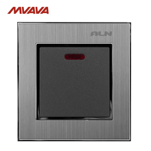 20A/45A Switch LMN Hotel Luxury Silver Satin Metal 20A/45A Wall Light Electrical Switch with LED Night Backlight