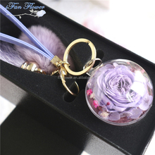 Top grade latest round rose flower glass ball