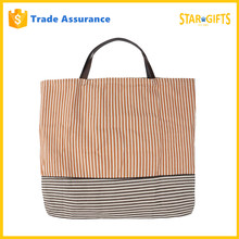 Promotional Folding Stripes Polyester Shopping Bags With Double Handles