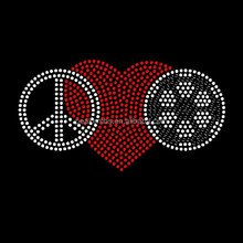 Peace Love Soccer Rhinestone Motif Korean Rhinestone Patterns Crystal Transfer For Tees
