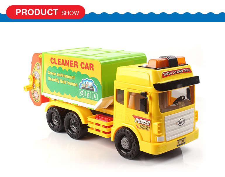 Friction lighting environmental protection cleaner vehicle dump truck toy with music