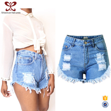 A Forever Fairness Broken Hole Irregular Fringed Fashion Women's Jeans Shorts