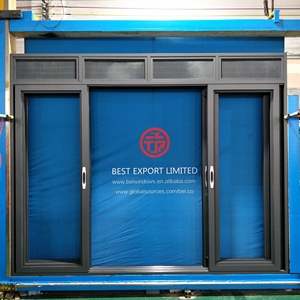 Aluminium sliding door with top louvers