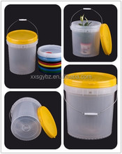 18.9 liter clear plastic buckets with lid