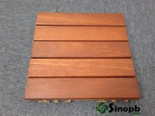 Malaysia Floor Tiles Interlocking KEMPAS Wood Decking Tile with Plastic Base Underlay Garden Solid Wood Flooring Made in China