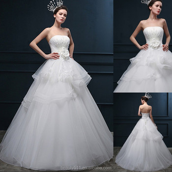 Beaded A-line Strapless Sleeveless Floor-length Empire Organza Princess bridal wedding dresses WD1612