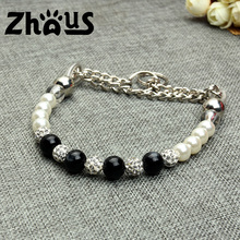 Wholesale High-end Luxury Pearl Beads Steel Wire Pet Dog Training Collars