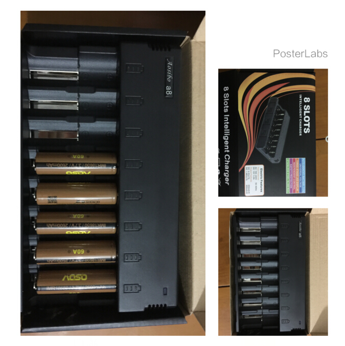 8 bays ni-mh ni-cd aa battery charger 1.2v 3.7v li-ion battery charger Aoso a8 Multi function high quality battery charger