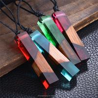 Solid Wood Resin Necklace Pendant Handmade