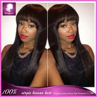 Top grade 100% virgin remy Natural black Straight jewish wig european hair full lace wig with big bangs for women