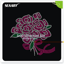 Flower and star rhinestone hot fix transfer flying heart designs