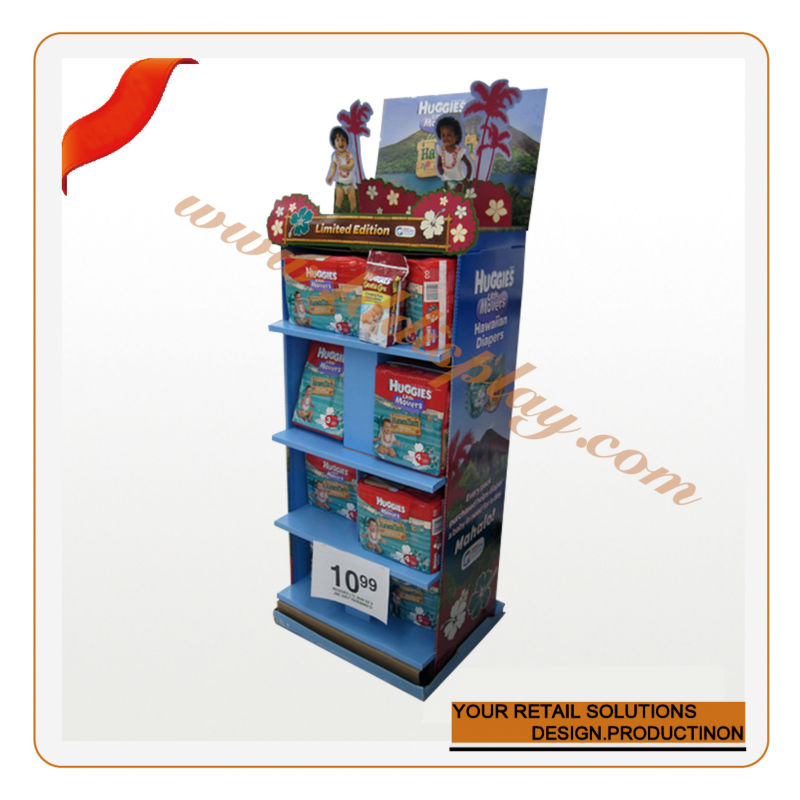 Collapsible supermarket floor display stand for pampers