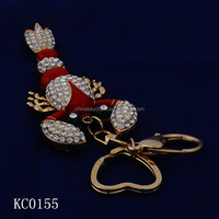 New Design Fashion Ruby red scorpion 3D printing metal keychains