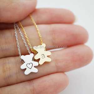 Inspire stainless steel jewelry gold plated metal necklace women Personalized Teddy Bear Necklace
