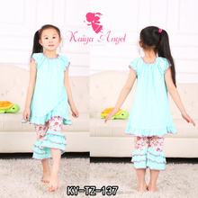 Korean Kids Fashion Clothing,Baby Toddler Girls 100% Cotton Aqua Floral Boutique Ruffle Outfits