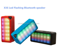 X3S Mini Multi-Color Flash Wireles LED Light Bluetooth Speaker with Built-in Microphone Support USB AUX FM Radio TF Card