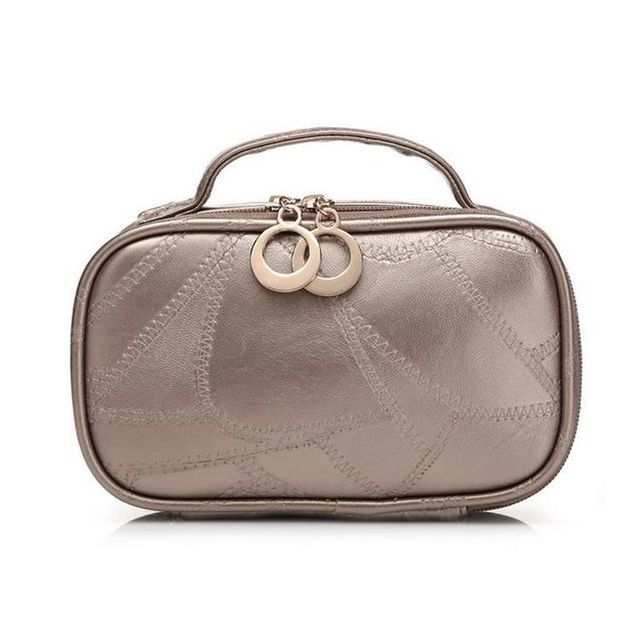 High quality large capacity cosmetic bag PU leather cosmetic handbag travel toiletry makeup bag