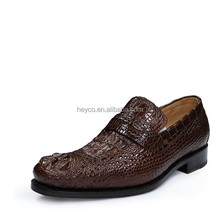 Heyco special custom made crocodile bone leather skin men loafer shoes