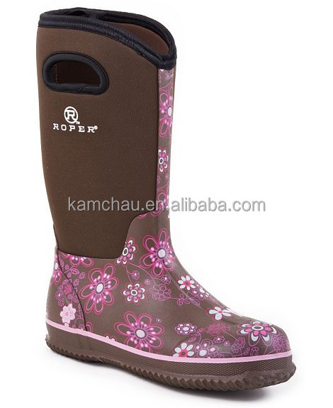 wholesale knee grey rubber neoprene boots