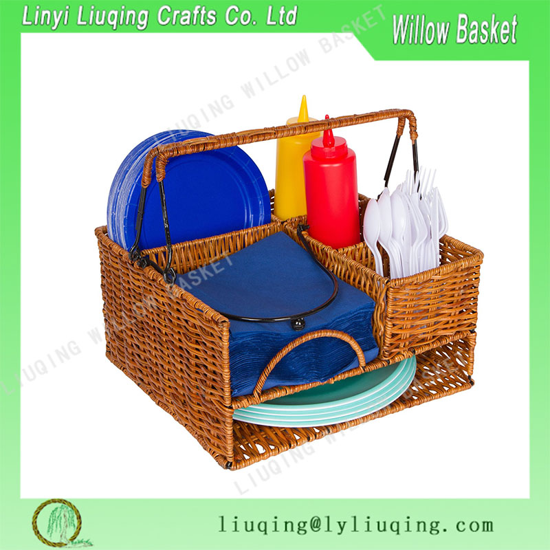Woven Rattan and Wicker Seven-Compartment Picnic Organizer Basket with Metal Frame