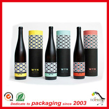 Custom Recycled Elegant Cardboard Cylinder Round Bottle Wine Packaging