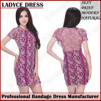 2014 charming lace bandage dress mother of the bride lace tea length dresses