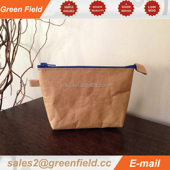 Washable Kraft paper cosmetic bag, blue zipper washable Kraft paper cosmetic bag