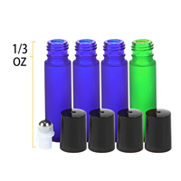 10ml 10 ml frosted empty roller essential oil glass roll on perfume bottle with black cap